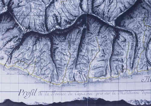 Carte de la province du Cap Corse dessinée par les ingénieurs du Plan terrier en 1771