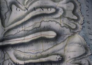Carte peinte de la partie nord de Pietracorbara dans les rouleaux du Plan terrier