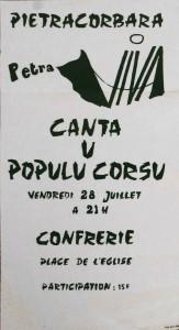 Affiche Canta u populu corsu. Juillet 1977. Photo D.A.