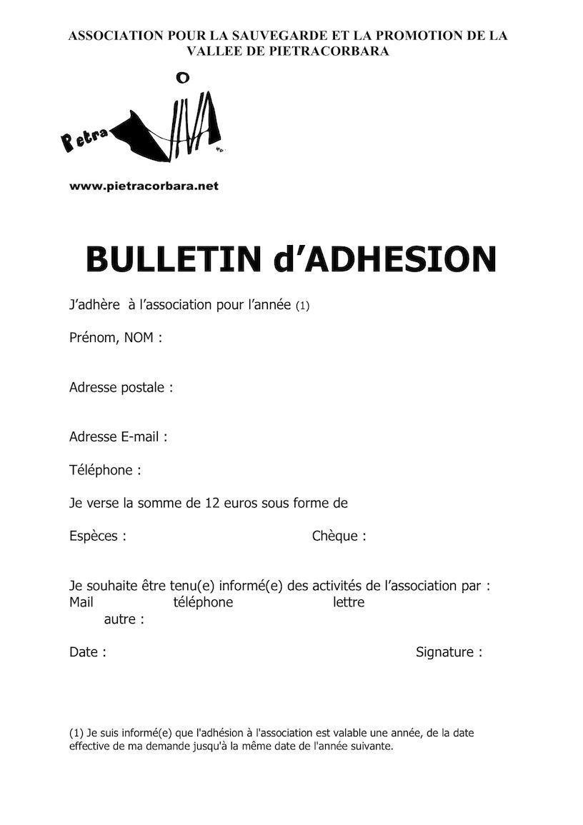 Bulletin d'adhésion à Petra Viva